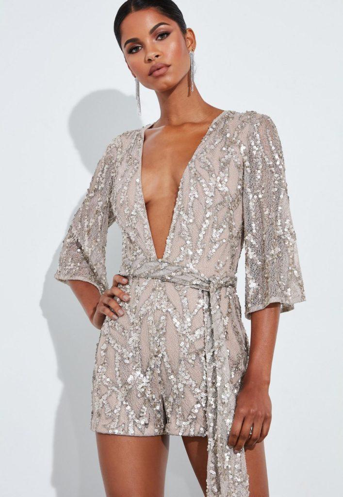 peace + love gold sequin kimono plunge romper $255.00