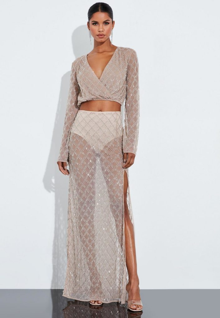 peace + love nude silver drop pearl embellished drape maxi skirt $255.00