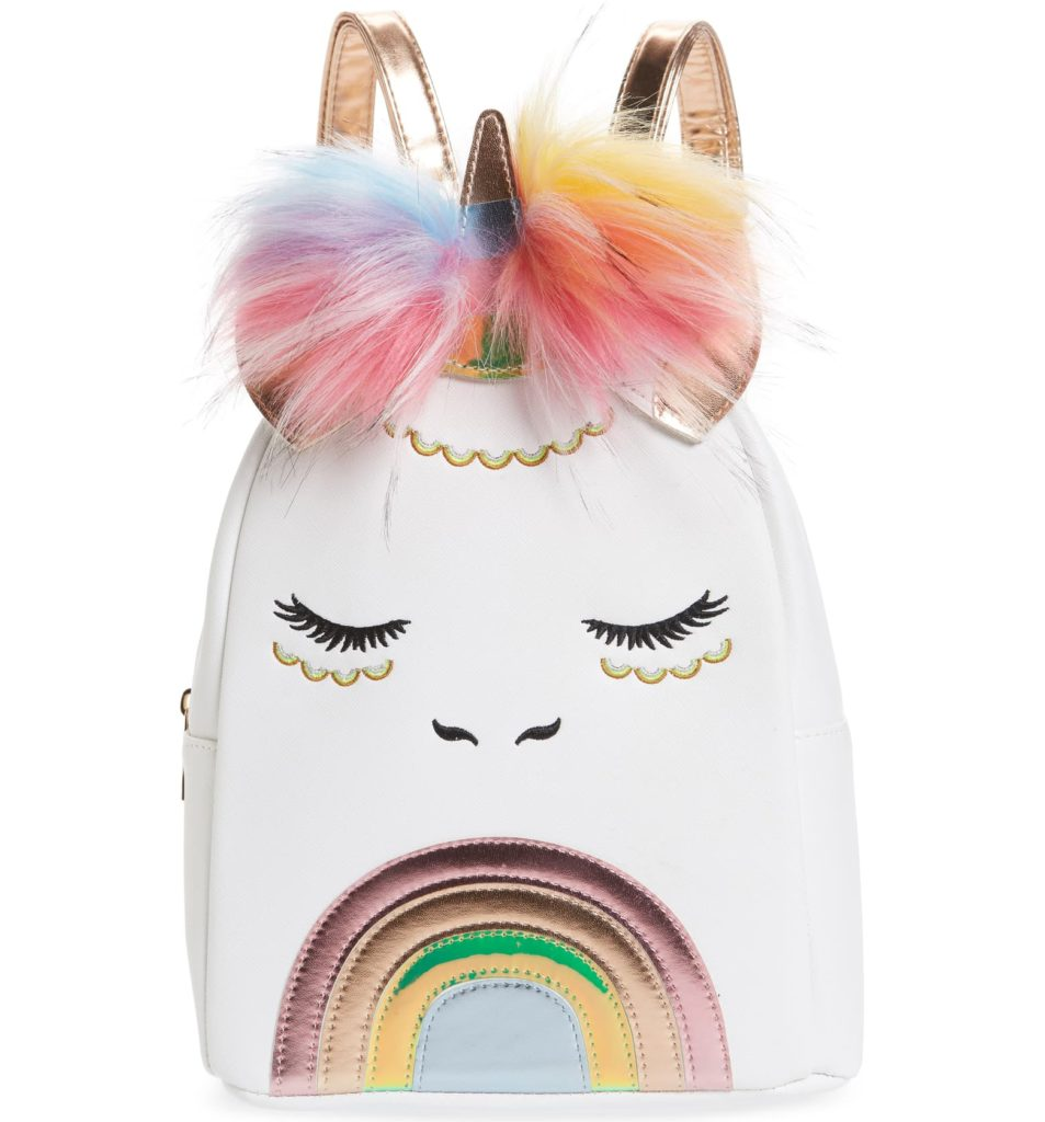Unicorn Faux Fur Pom Backpack $40.00