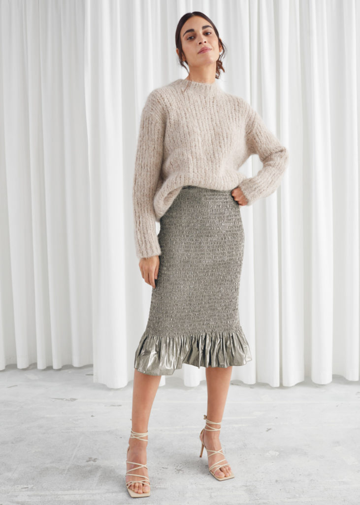 Smocked Metallic Midi Ruffle Skirt $79