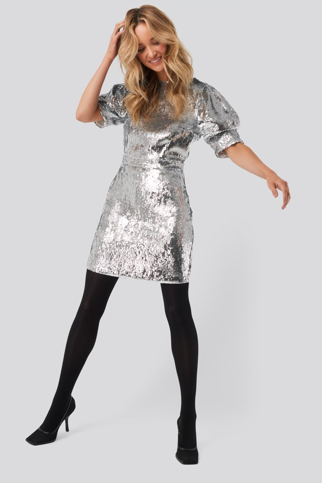 Heavy Sequin Short Puff Sleeve Dress Silver $95.95