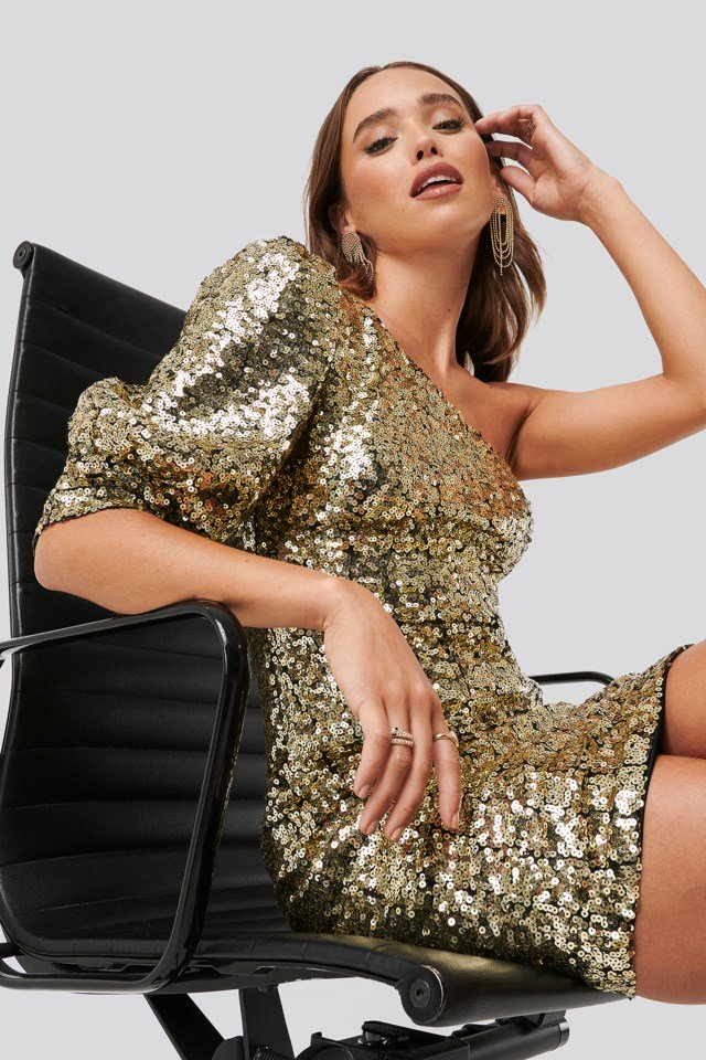 One Shoulder Puff Sleeve Sequin Dress Gold $71.95