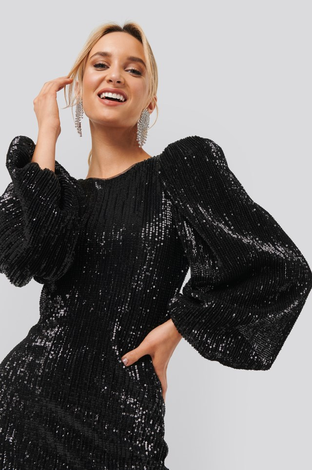 Puff Sleeve Sequin Mini Dress Black $71.95
