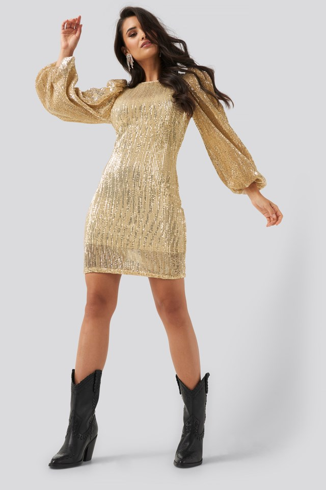 Puff Sleeve Sequin Mini Dress Gold $71.95