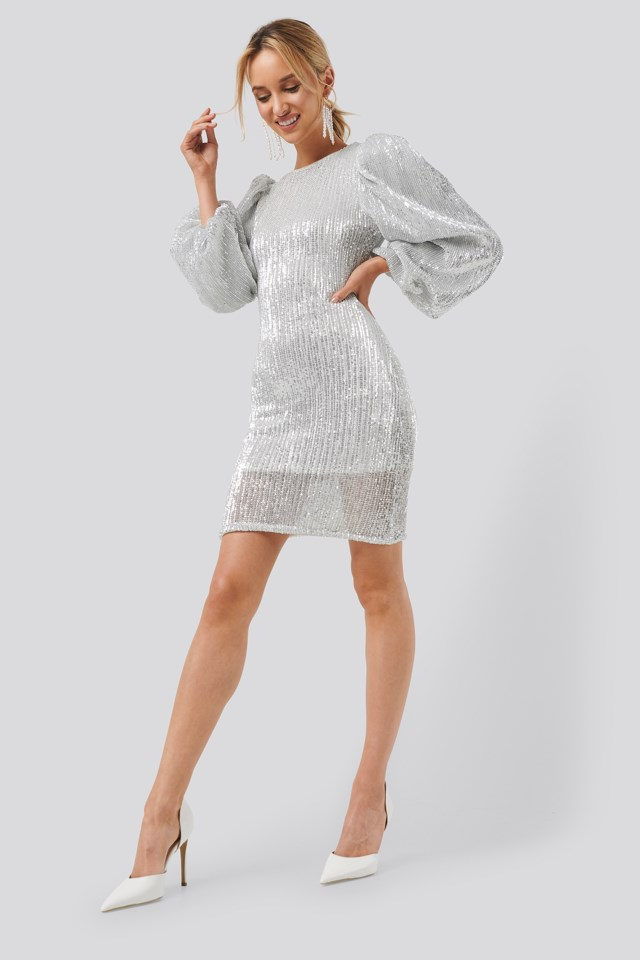 Puff Sleeve Sequin Mini Dress Silver $71.95