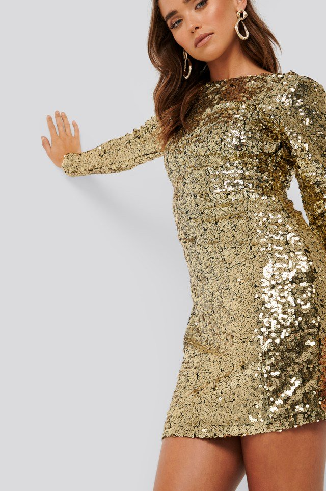 Sequin Long Sleeve Dress Gold $71.95