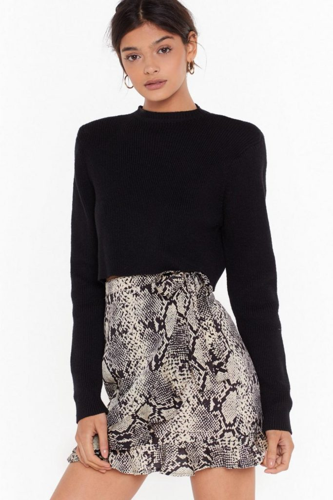 Snake Yourself At Home Wrap Mini Skirt $16.00