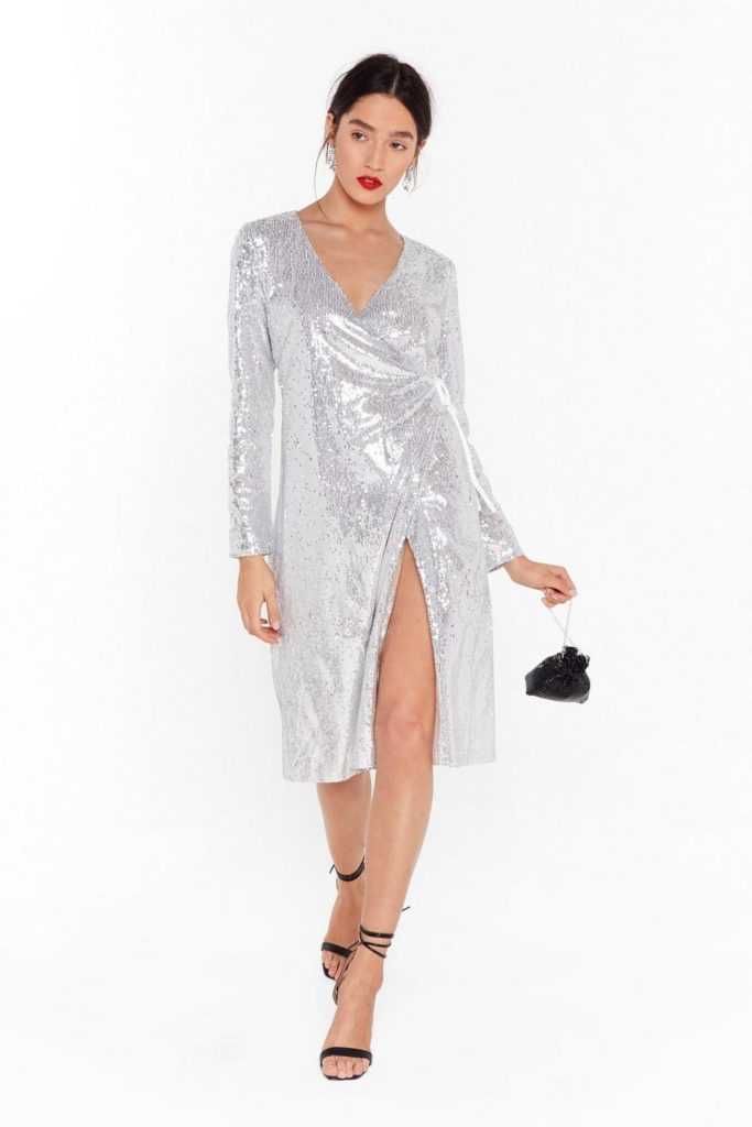 Sequin Them Over Wrap Midi Dress $64.00