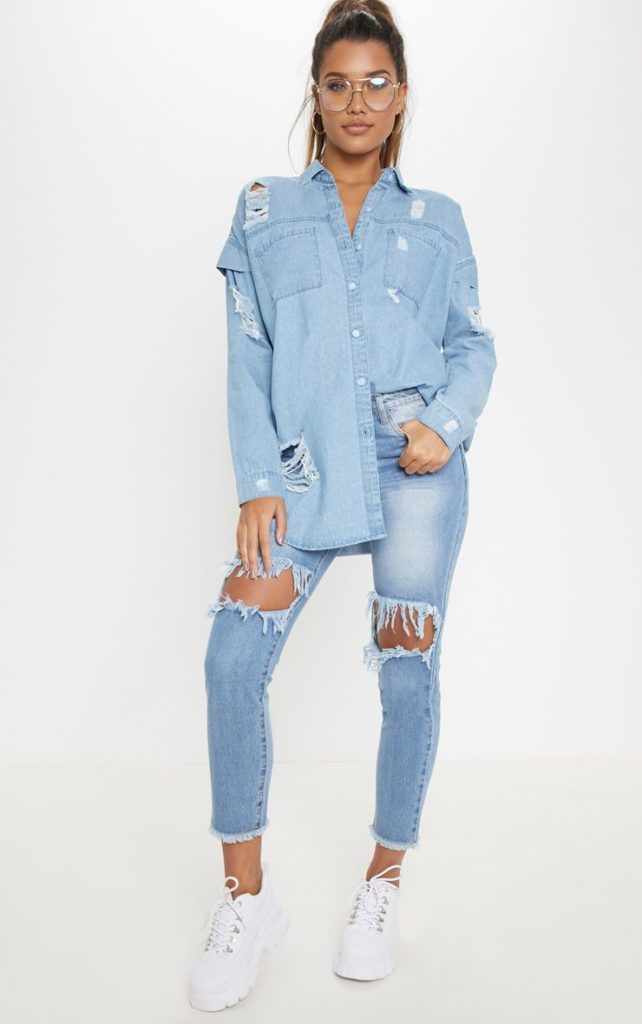 LIGHT WASH OVERSIZED DENIM SHIRT $45.00