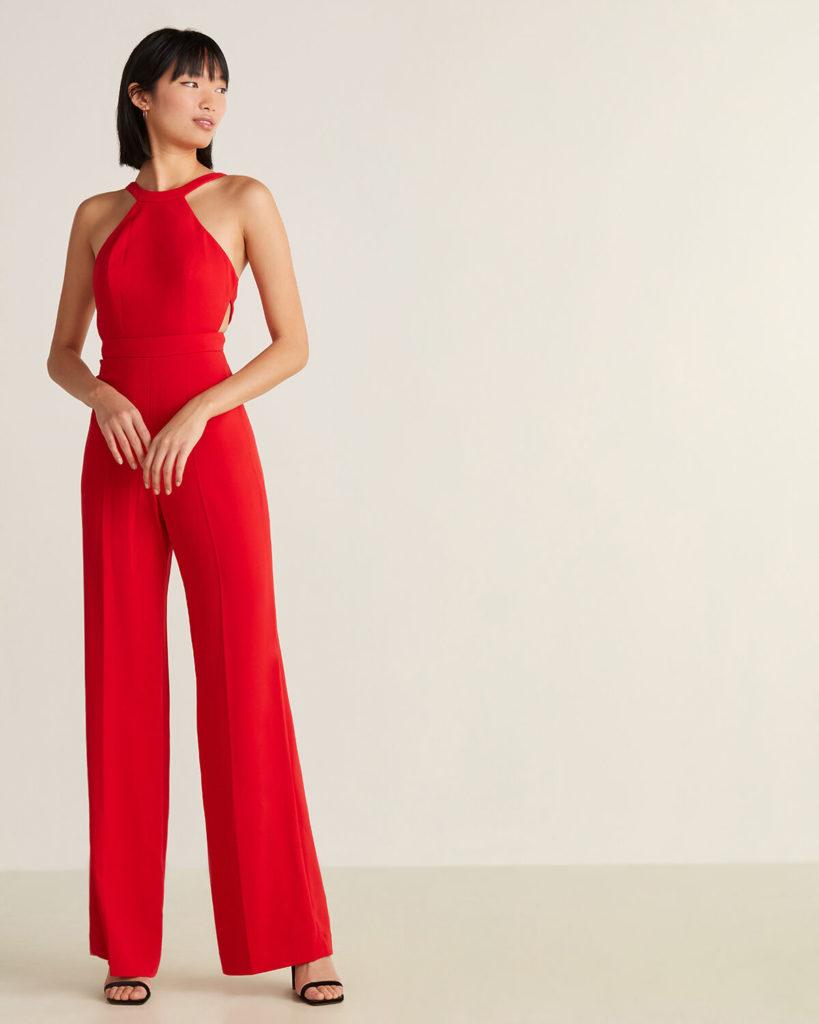 JAY GODFREY Bold Red Esmie Open Back Jumpsuit $129.99
