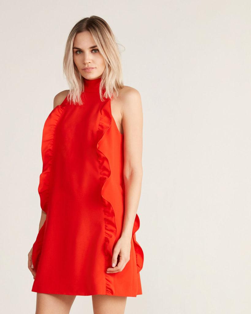 Halter Neck Scallop Shift Dress $139.99