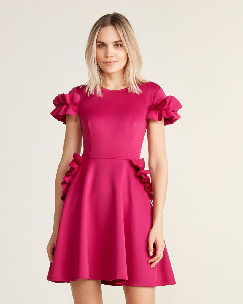 Ruffle Fit and Flare Dress $139.99