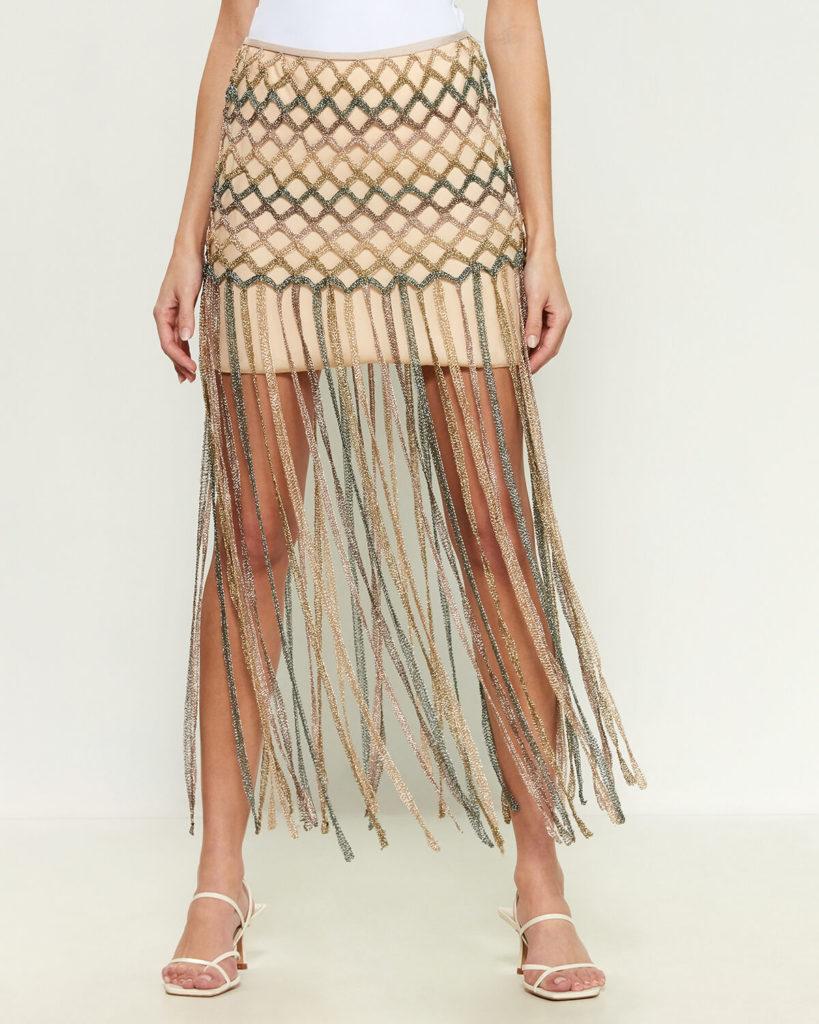 Metallic Yarn Fringe Skirt $649.99