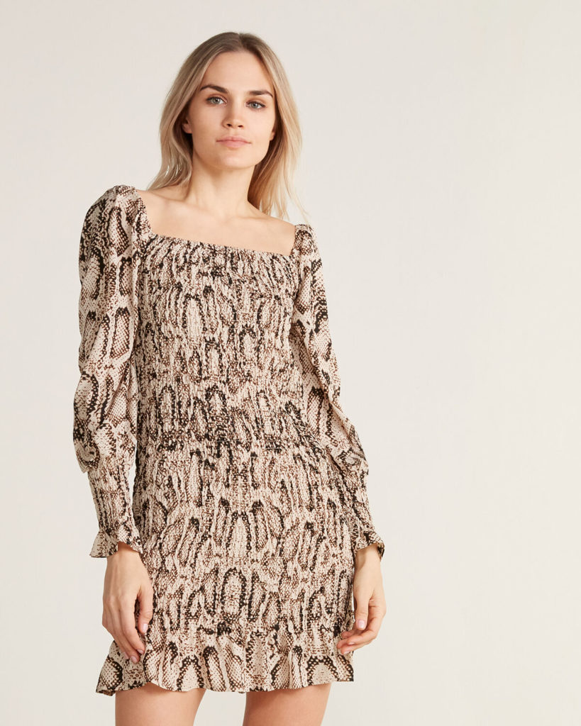 Smock Print Long Sleeve Dress $59.99