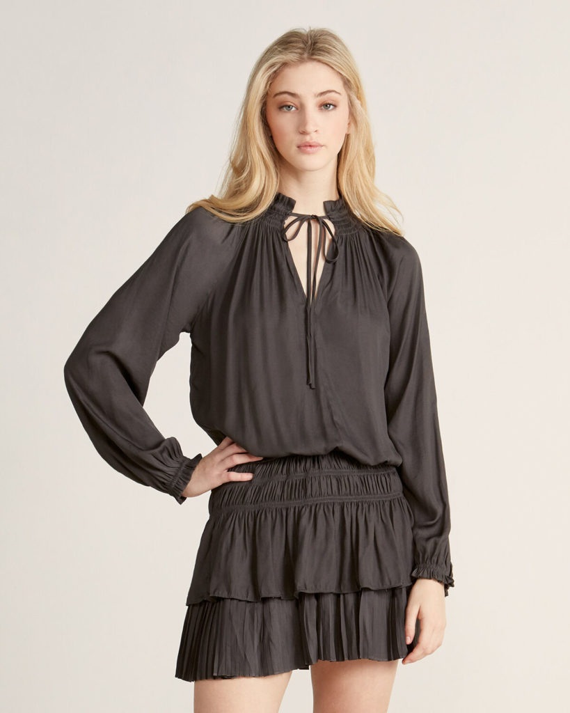 Smock Waist Long Sleeve Dress $39.99
