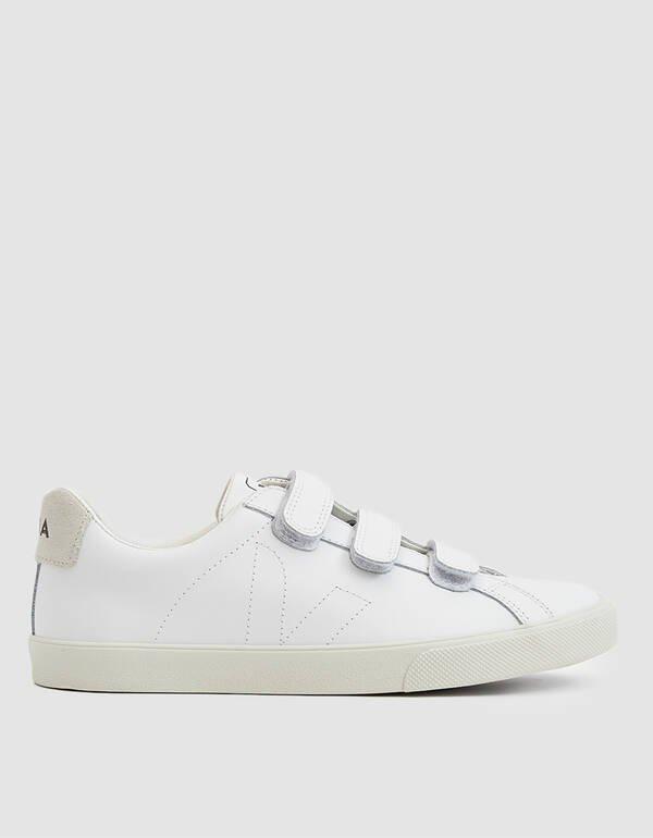 Veja Esplar Leather 3-Lock Sneaker In Extra White in White $155.00