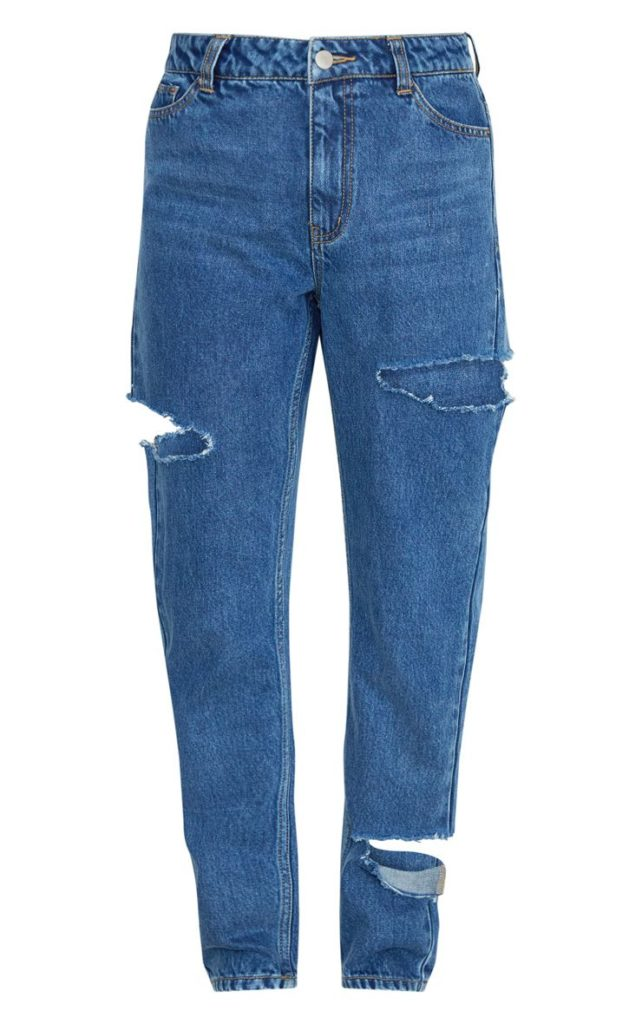 MID BLUE THIGH SPLIT STRAIGHT LEG JEANS $52.00