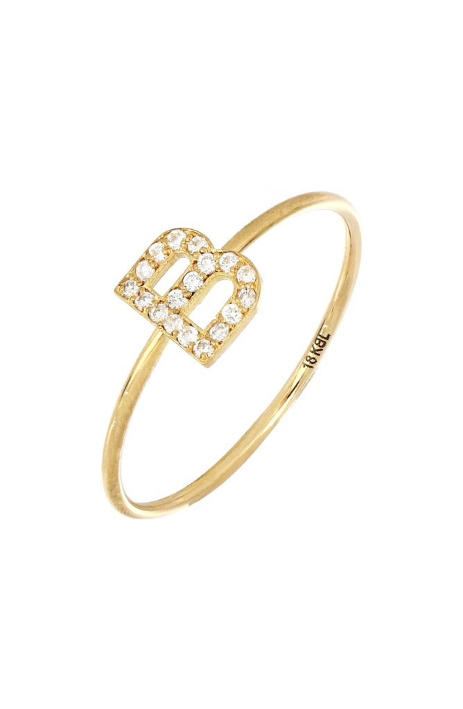 Simple Obsession Diamond Initial RingBONY LEVY $425.00