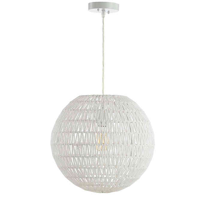 JONATHAN Y Luna Woven Orb LED Pendant in White $78.99