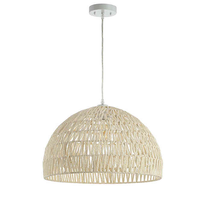 JONATHAN Y Campana Woven Dome LED Pendant in Cream $88.9