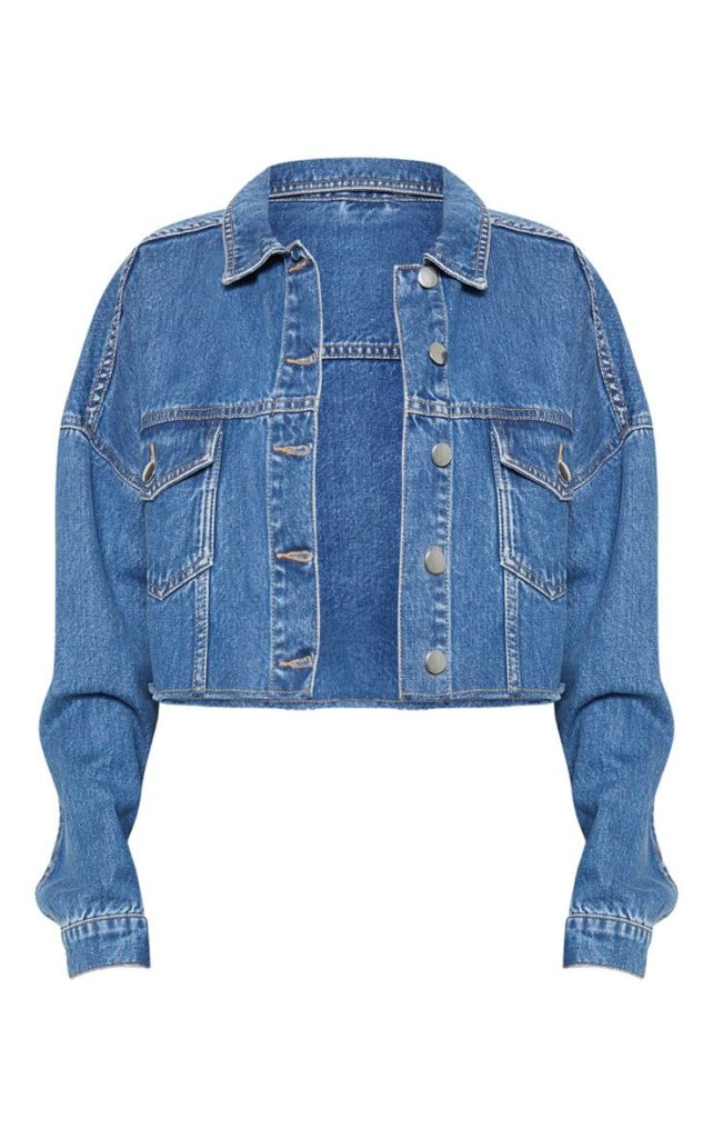 MID WASH RAW EDGE DENIM JACKET $55.00