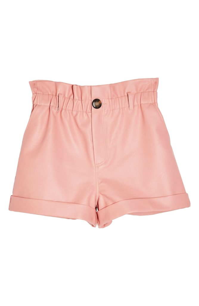 Paperbag Waist Faux Leather Shorts TOPSHOP  $55.00