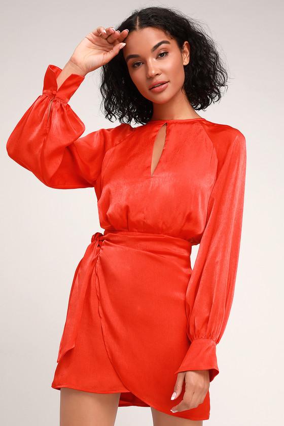 Nightlife Red Satin Long Sleeve Dress $145.00