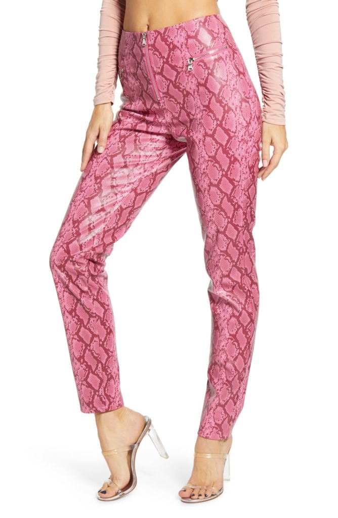 Pearl Snake Print Faux Leather Pants TIGER MIST $99.00