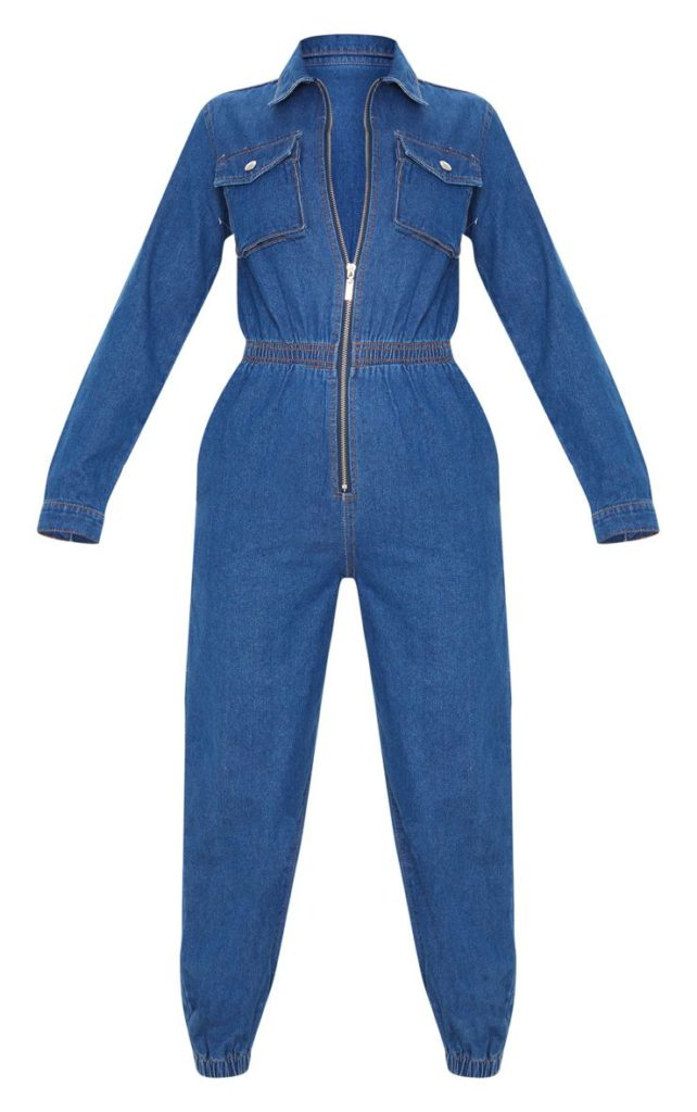 MID WASH ZIP FRONT DENIM JUMPSUIT$72.00