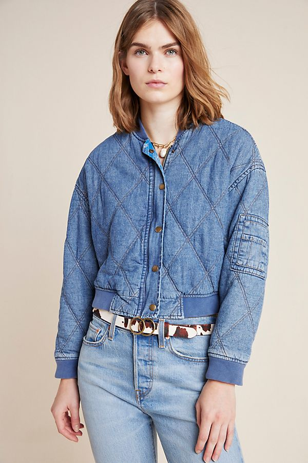 Lindy Quilted Denim Bomber Jacket $160.00