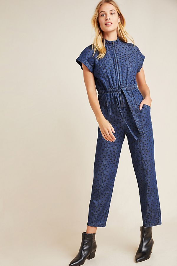 Spotted Denim Jumpsuit $395.00