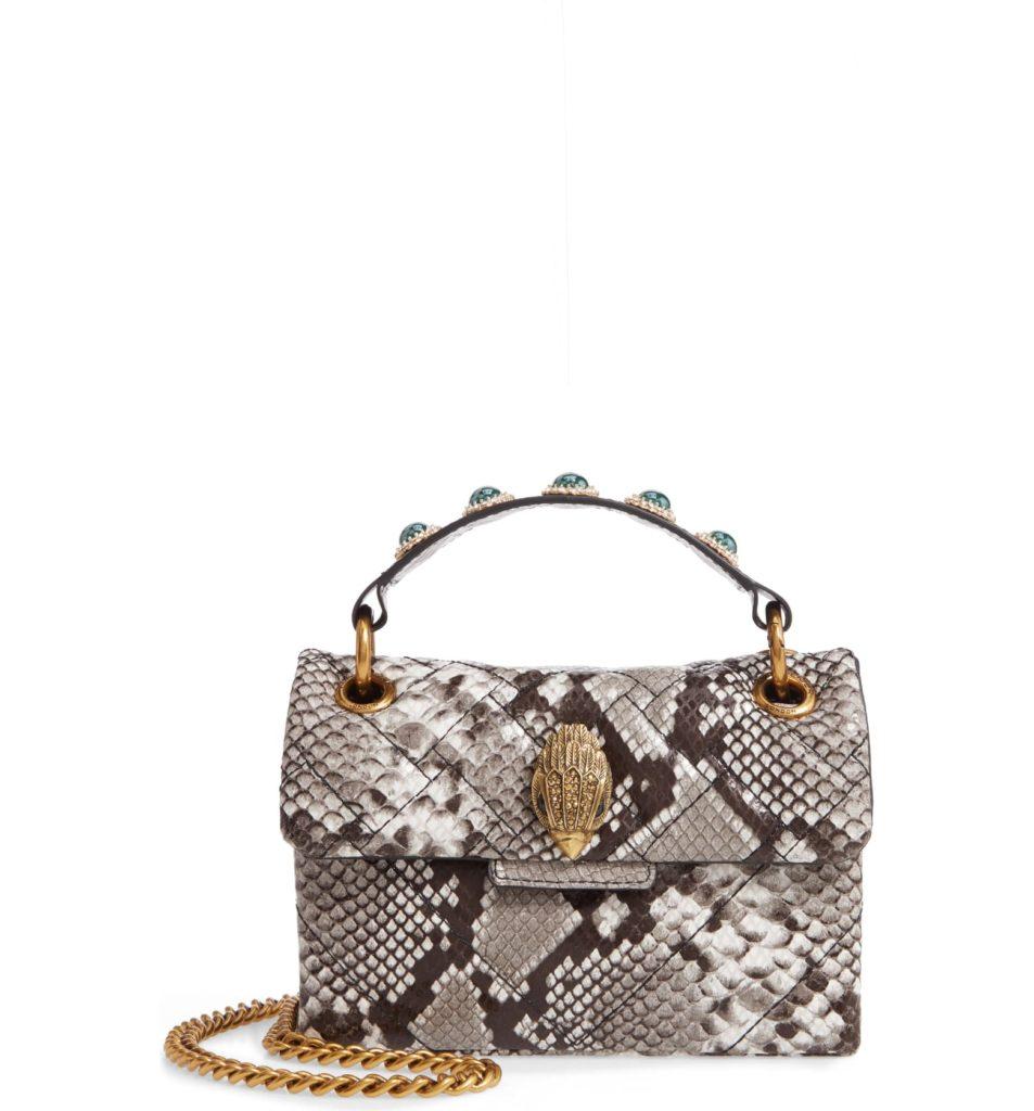 Kensington X Snake Embossed Leather Shoulder Bag $175.00