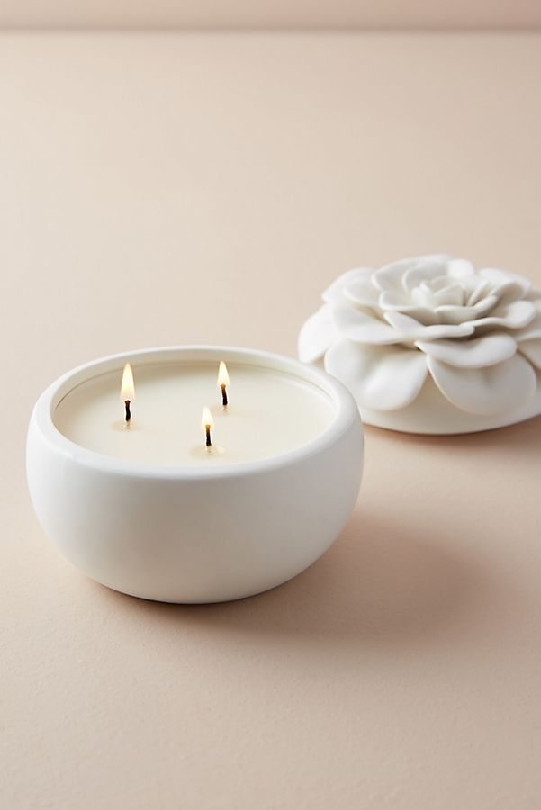 Ceramic Flower Candle $26.00