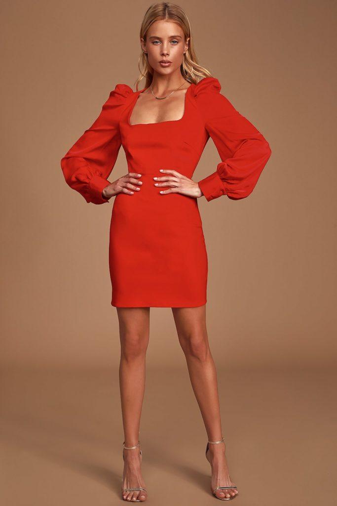Longtime Crush Red Puff Shoulder Long Sleeve Mini Dress $58.00