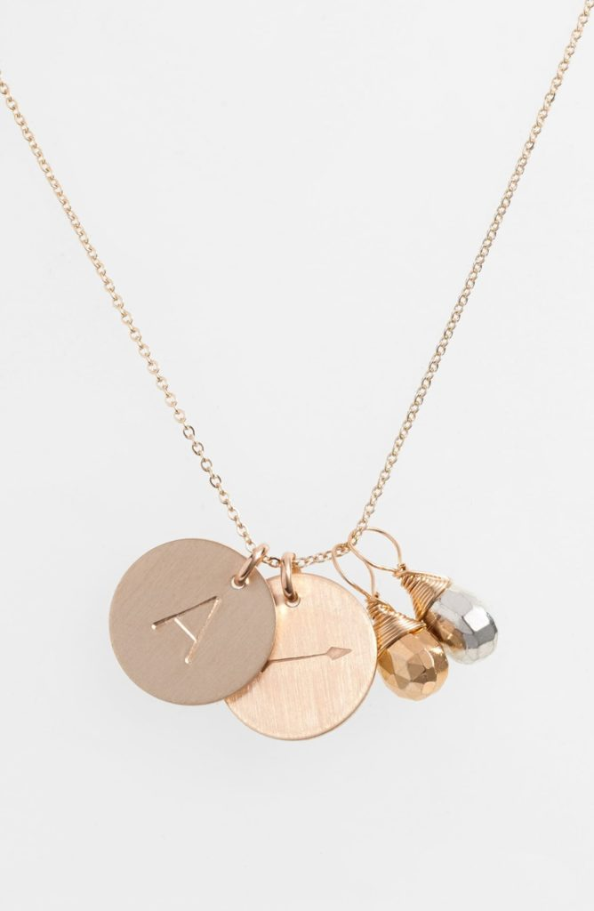 Pyrite Initial & Arrow 14k-Gold Fill Disc Necklace NASHELLE $97.00