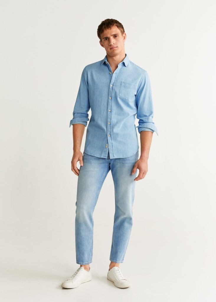 Slim fit herringbone shirt $39.99