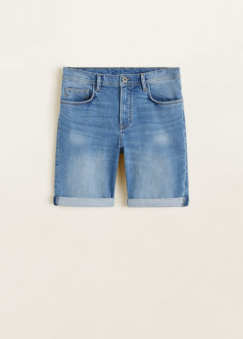 Medium wash denim bermuda short $24.99