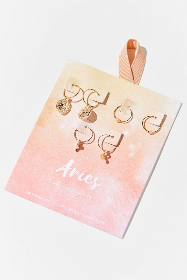 Zodiac Charm Hoop Earring Set $24.00
