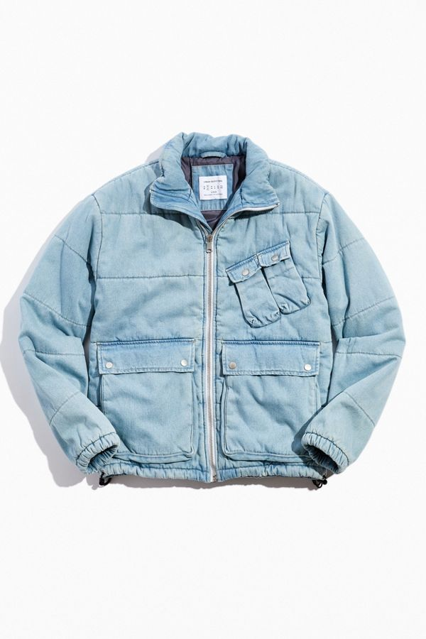 Denim Utility Puffer Jacket $149.00