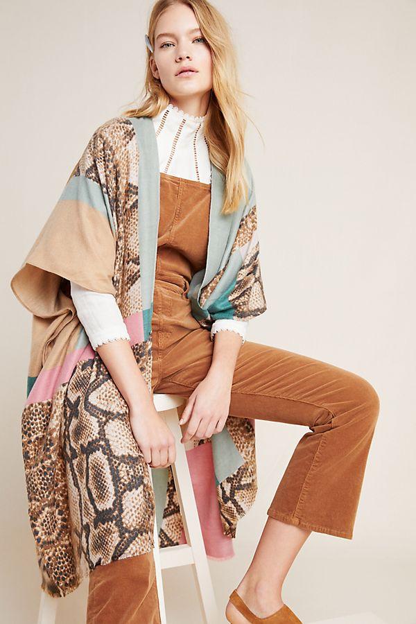 Patchwork Snake-Printed Kimono$88.00
