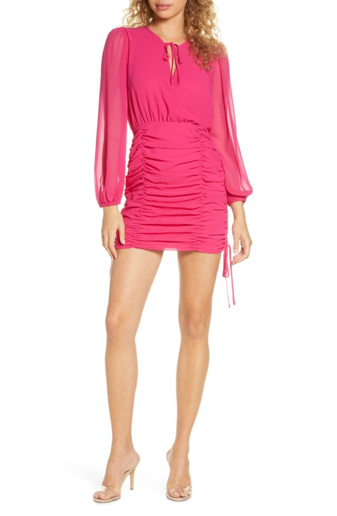 Pia Ruched Long Sleeve Georgette Minidress $89.98