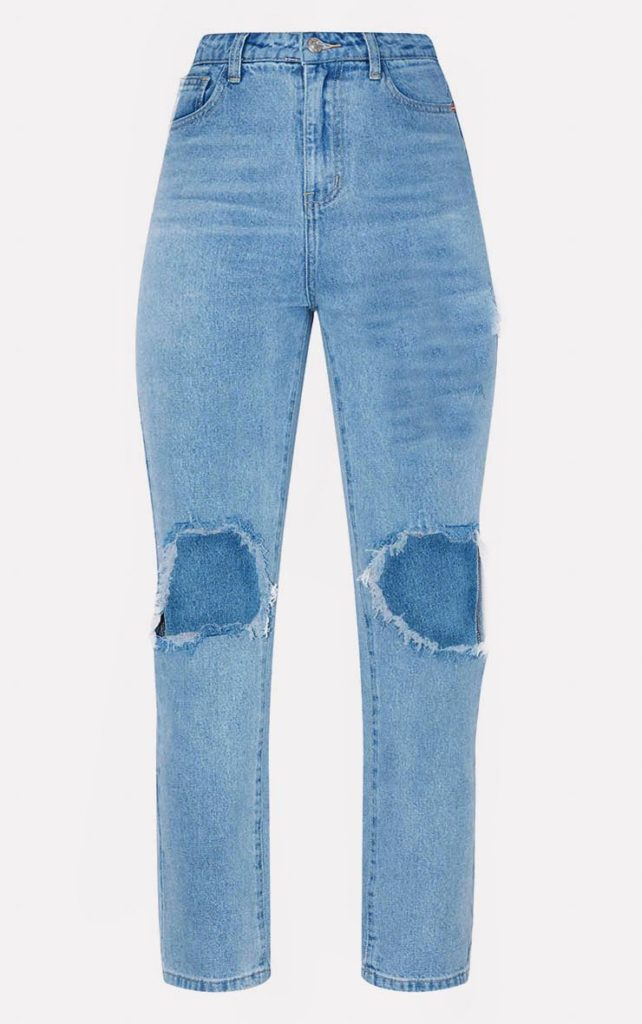 MID BLUE KNEE RIP STRAIGHT LEG JEAN $52.00