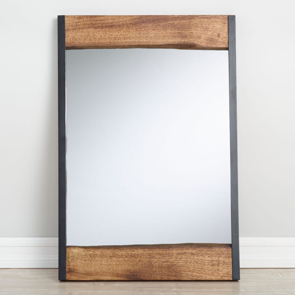 Small Walnut Brown Wood Leaner Mirror With Live Edge $149.99