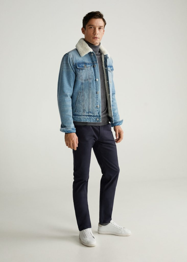 Faux shearling-lined denim jacket $99.99