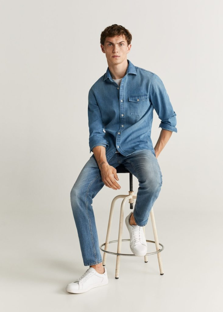Slim fit medium denim shirt $69.99