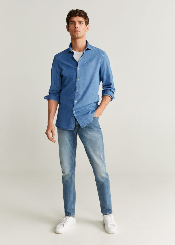 Slim fit cotton chambray shirt $59.99