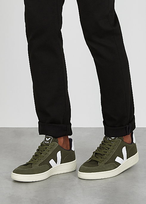 VEJA V-12 army green suede sneakers $120.00