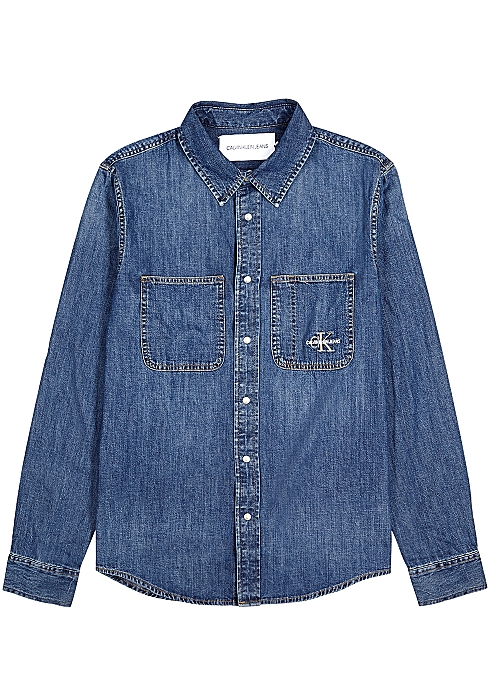 CALVIN KLEIN JEANS Blue logo denim shirt $‌89.00