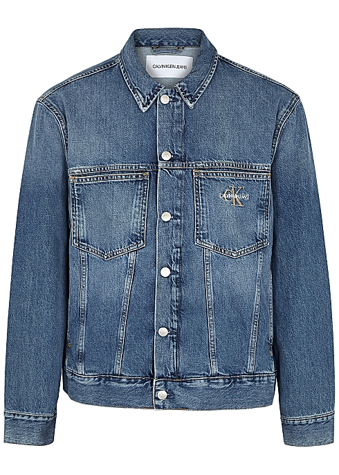 CALVIN KLEIN JEANS Blue logo-embroidered denim jacket $‌125.00