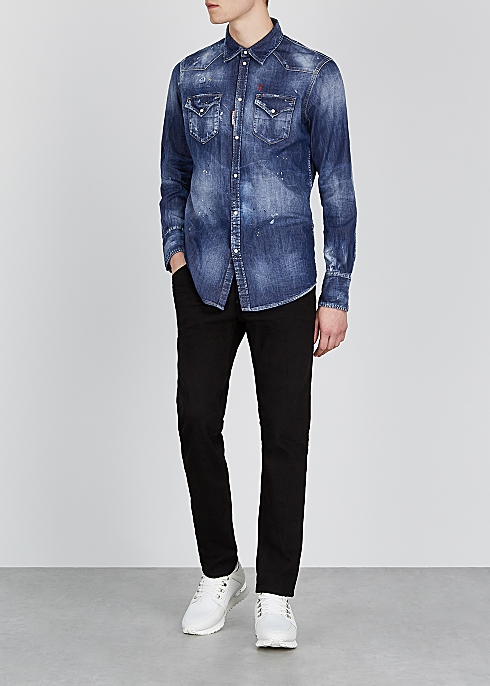 DSQUARED2 Blue distressed denim shirt $‌520.00